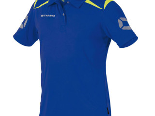 Blue/neon yellow Stanno Forza climatec kids polo sport t-shirts