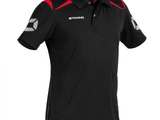Black/red Stanno Forza climatec kids polo sport t-shirts