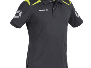 Grey/neon yellow Stanno Forza climatec kids polo sport t-shirts